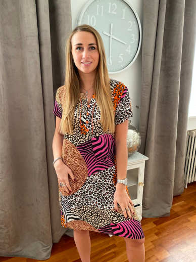 Robe Egatex Animal Print manches courtes