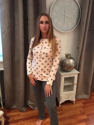 Pyjama haut rose dragé et pois gris bas gris uni