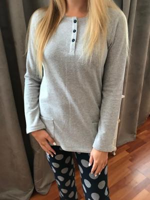 Pyjama chaud gris et marine christian cane