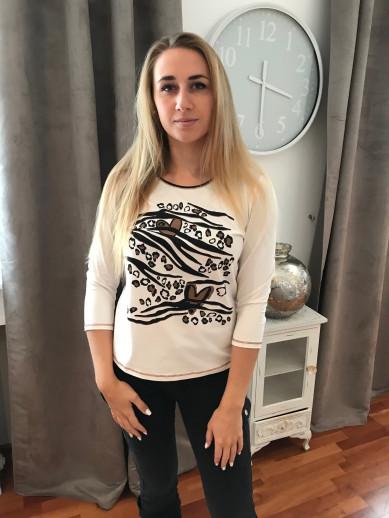 T.shirt nacre motif placé camel et noir
