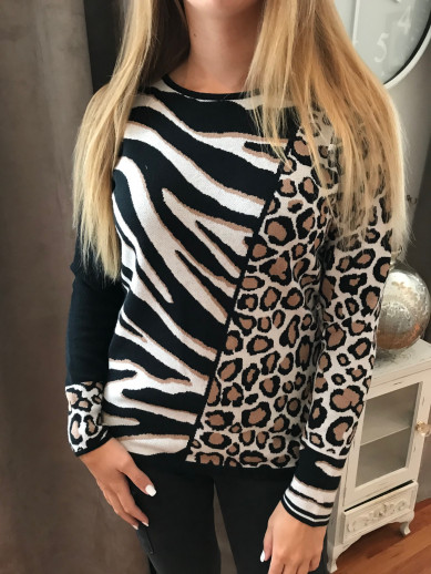 Pull camel et noir motif léopard