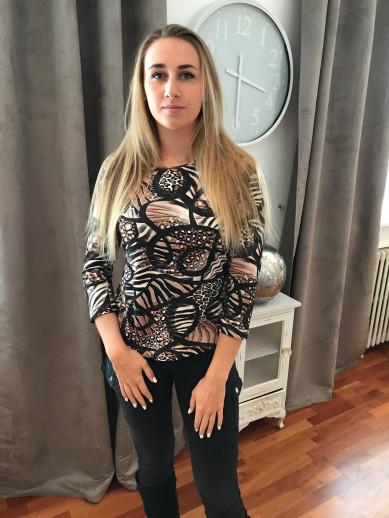 T.shirt imprimé camel et noir
