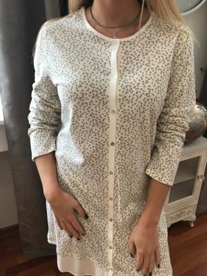 Chemise de nuit régence ouverte de haut en bas blanche pois gris