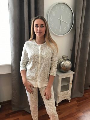 Pyjama régence blanc et pois gris