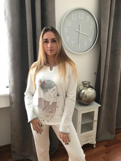 Pyjama egatex fond blanc imprimé gris et rose