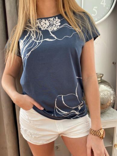 T-shirt imrimé bleu
