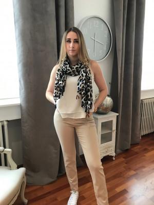 Pantalon jean beige élastiqué taille montana