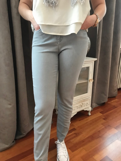 Pantalon jean gris élastiquée taille montana