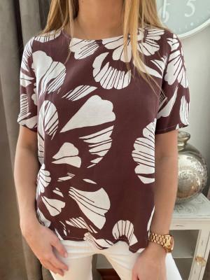 T-shirt chocolat imprimé blanc