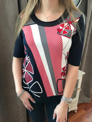 T.shirt marine et rouge Lebek