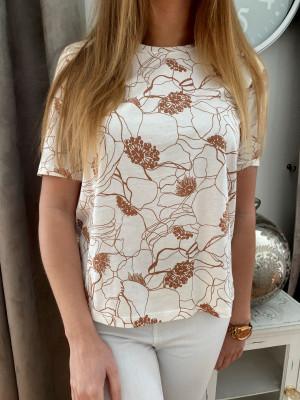 T-shirt nacre imprimé camel