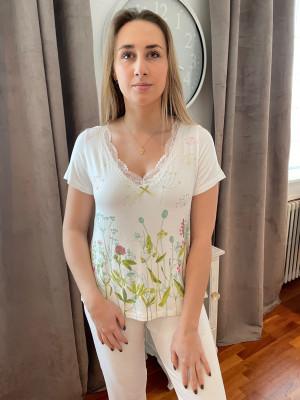 Pyjama écru imprimé pastel Egatex