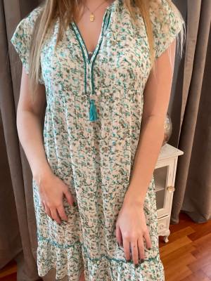 Robe imprimée verte Eva kayan
