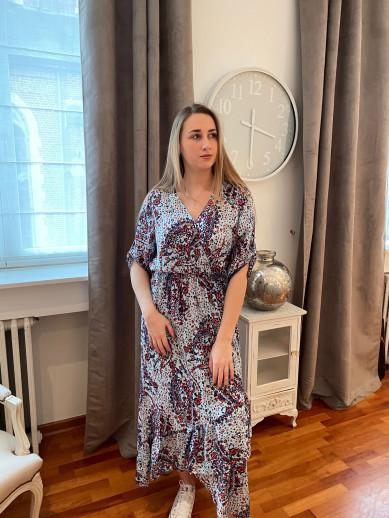 Robe longue imprimé bleu et rouge Eva Kayan