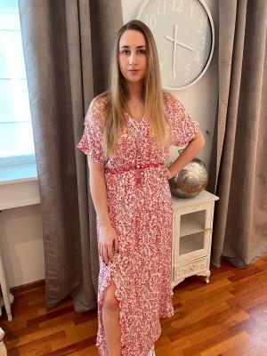 Robe longue imprimée rouge et blanc Eva kayan