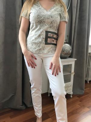 Pantalon élastiqué taille blanc montana