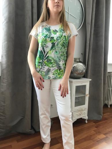 Pantalon elastiqué taille blanc avec passant montana