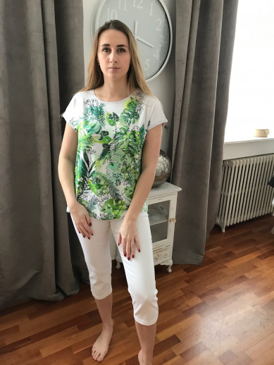 Pantacourt elastiqué taille blanc montana