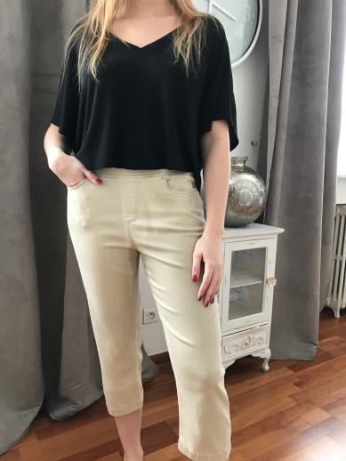Pantacourt elastiqué beige