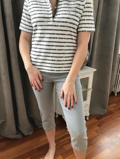 Pantacourt elastique taille gris montana