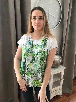 T. Shirt imprimé vert dos rayé rabe