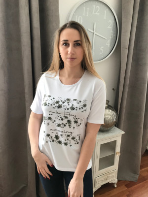 T.shirt blanc motif placé rabe