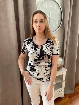 T.shirt imprimé taupe noir blanc col rond