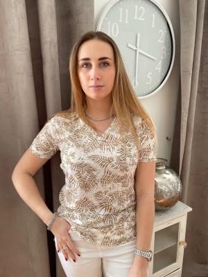 T.shirt beige et blanc imprimé feuille