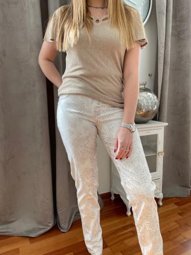 Pantalon réversible imprimé beige blanc / blanc