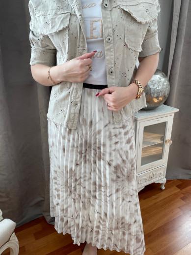 Jupe plissée beige élastique taille
