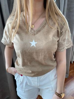 T.shirt camel étoile blanche manches brodées