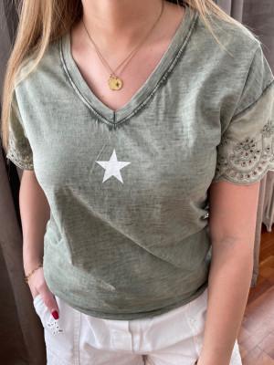 T.shirt kaki étoile blanche manches brodées