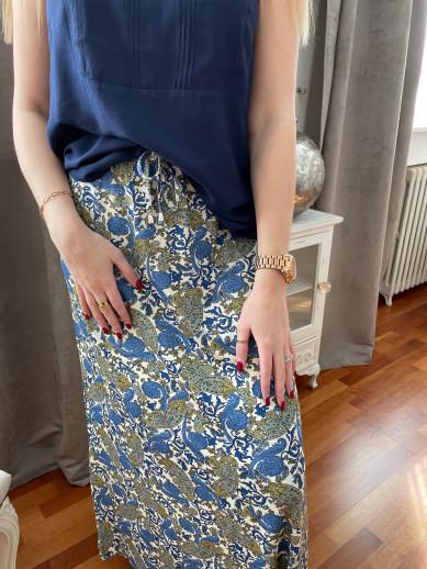 Jupe longue lastiquée taille imprimée bleue et kaki