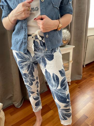 Pantalon imprimé bleu elastique taille