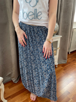 Jupe plissee imprimee bleue elastique taille
