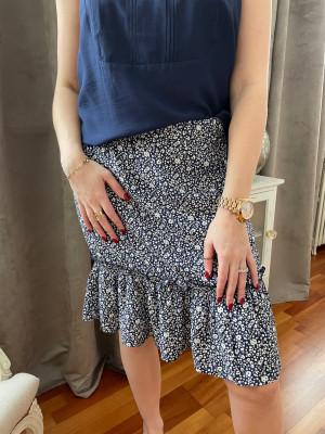 Jupe imprimée bleue et blanche