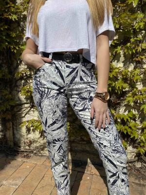 Pantalon imprimé marine et blanc