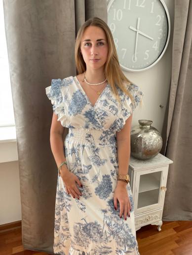 Robe longue imprimé bleue