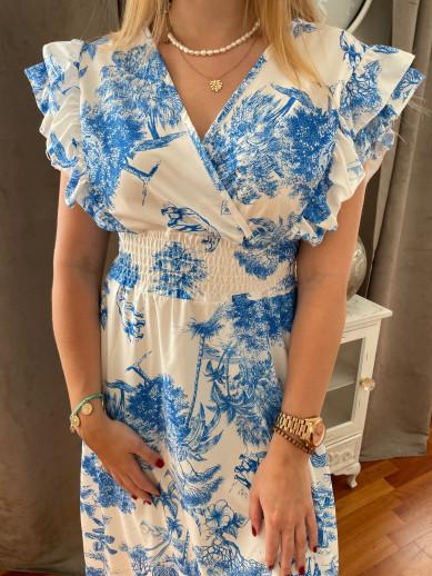 Robe longue imprimée bleu électrique