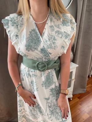Robe longue imprimé verte