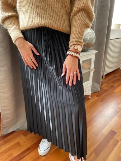 Jupe plissée noire élastique talle