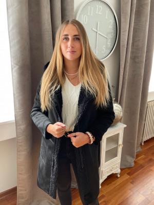 Manteau réversible noir avec capuche