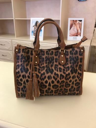 sac léopard camel