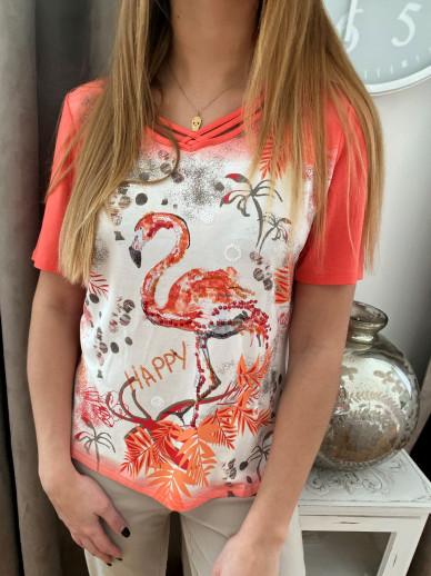 T.shirt corail imprimé