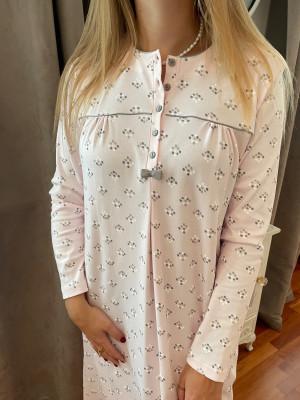 Chemise de nuit longue rose pois gris  Egatex