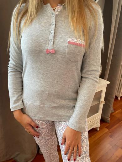 Pyjama gris et rose Egatex