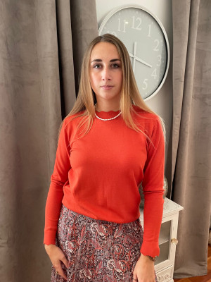 Pull corail col montant lebek