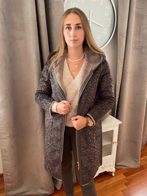 Manteau avec capuche réversible rino pelle