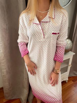 Chemise de nuit longue canat avec col framboise