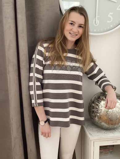 Pull rayé taupe et blanc